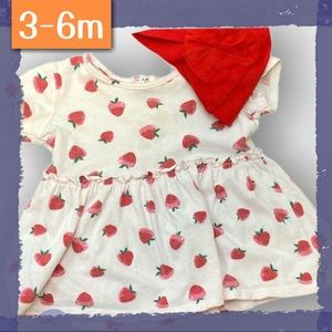 👗Light pink cotton sundress with strawberries
